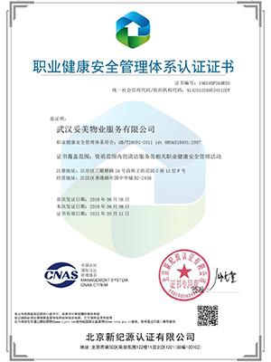 职业健康安全管理体系OHSAS18001认证证书